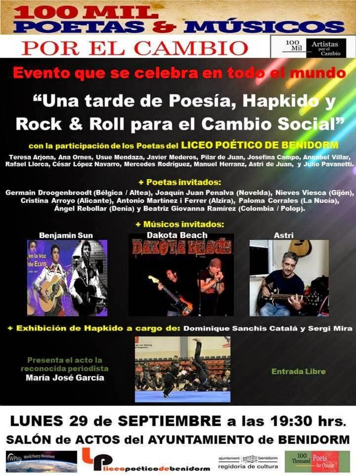 Invitación a la Lectura poética y musical del Movimiento 100 Mil Poetas por el Cambio